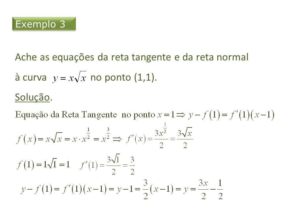 Exemplo 3 Ache as equações da reta tangente e da reta normal à curva no ponto (1,1). Solução.