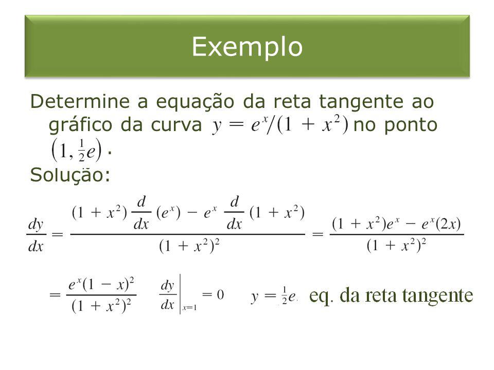 Exemplo Determine a equação da reta tangente ao gráfico da curva no ponto. Solução: