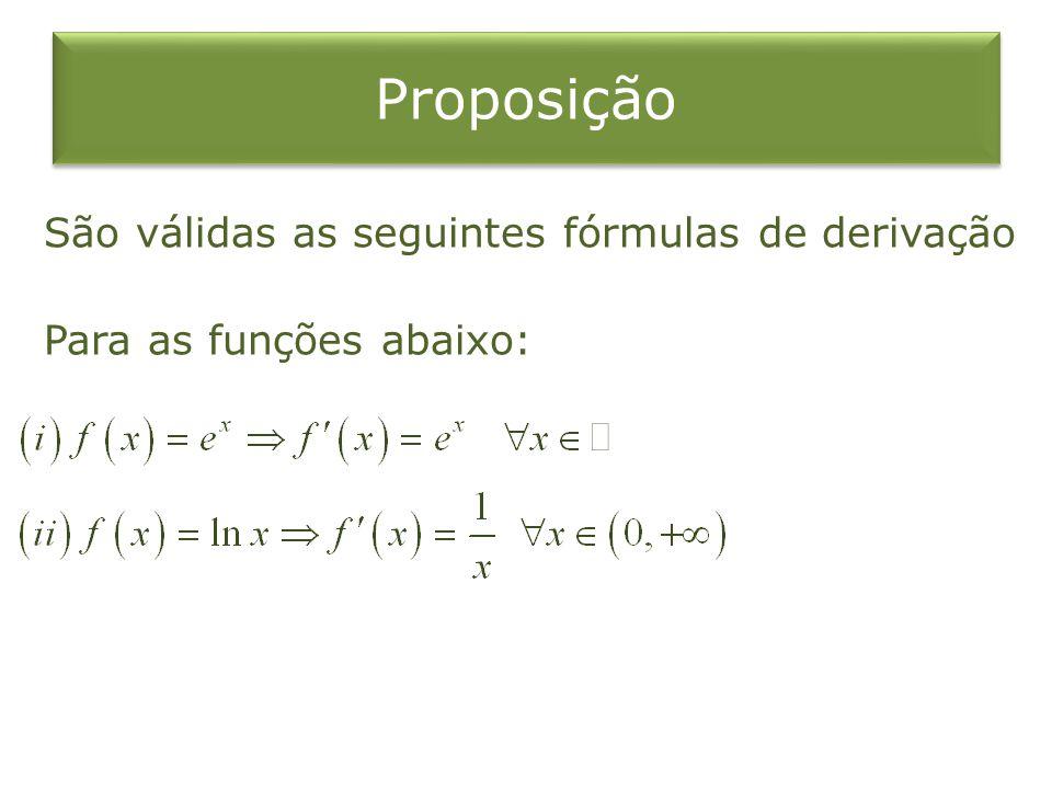 Proposição São válidas as seguintes fórmulas de derivação Para as funções abaixo: