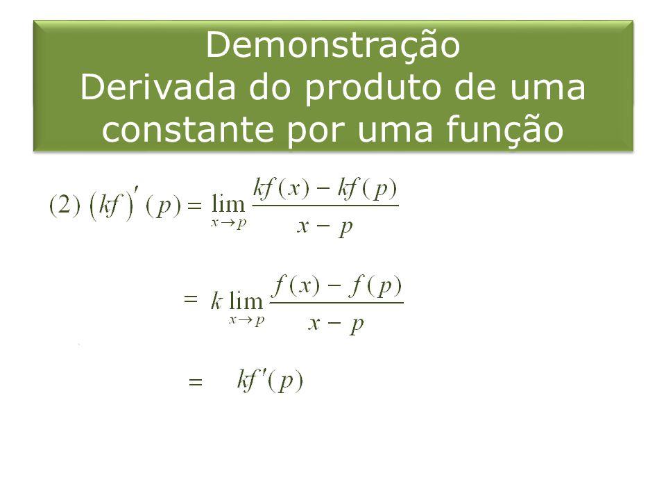 Demonstração Derivada do produto de uma constante por uma função Demonstração Derivada do produto de uma constante por uma função