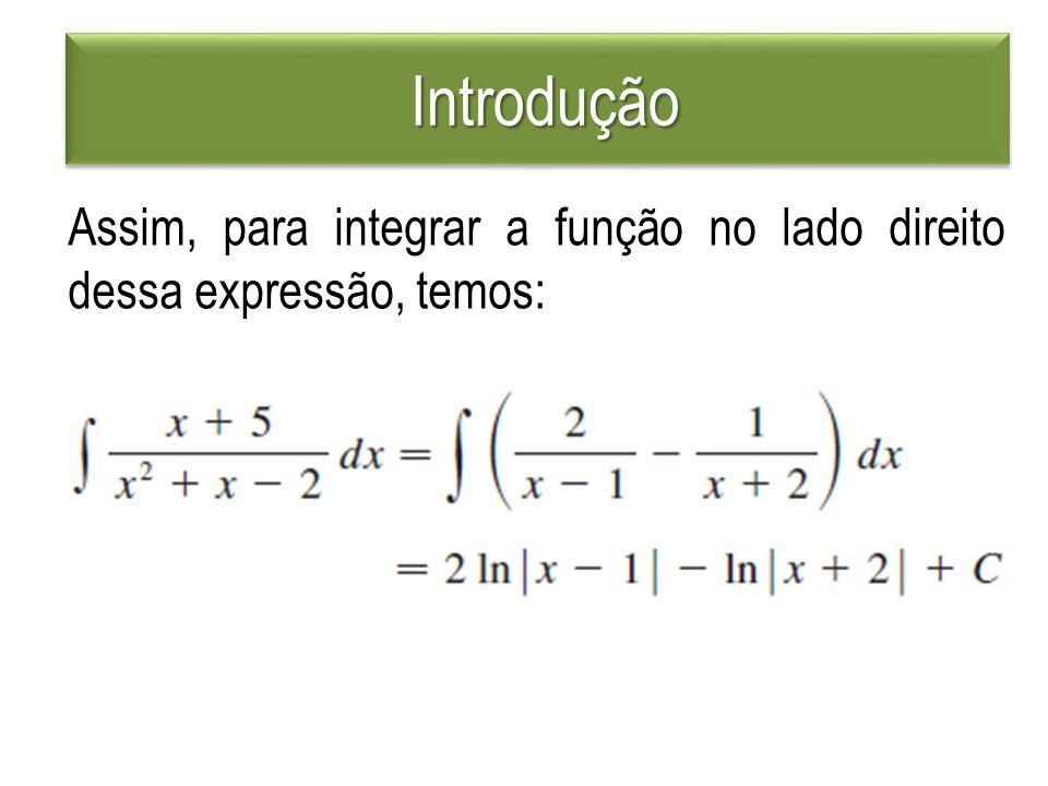 Introdução Introdução Assim, para integrar a função no lado direito dessa expressão, temos: