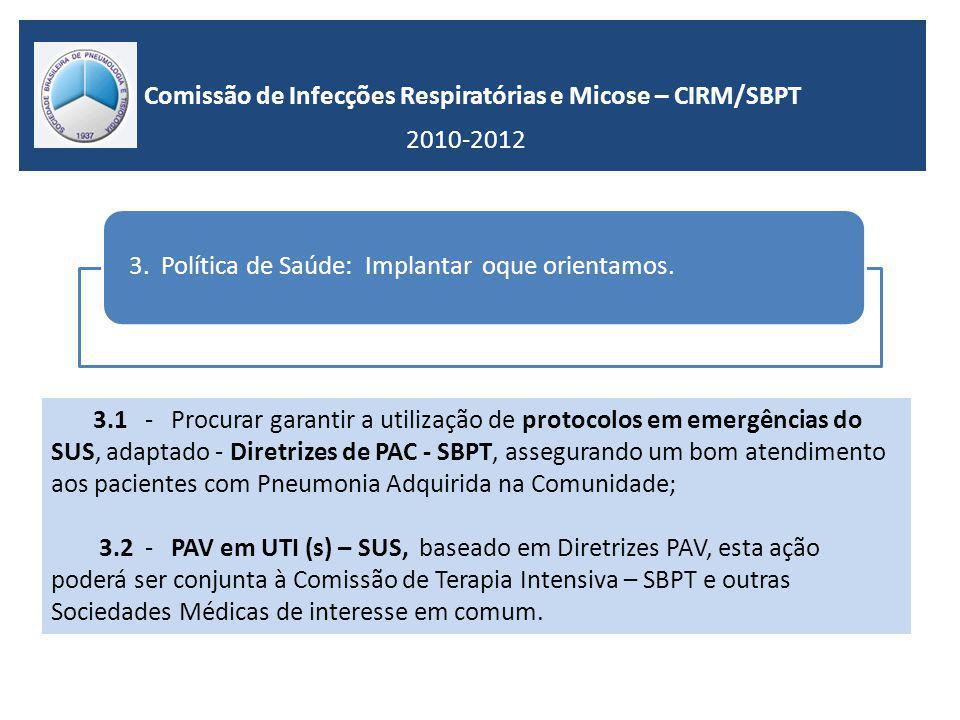 Comissão de Infecções Respiratórias e Micose – CIRM/SBPT 2010-2012 3.