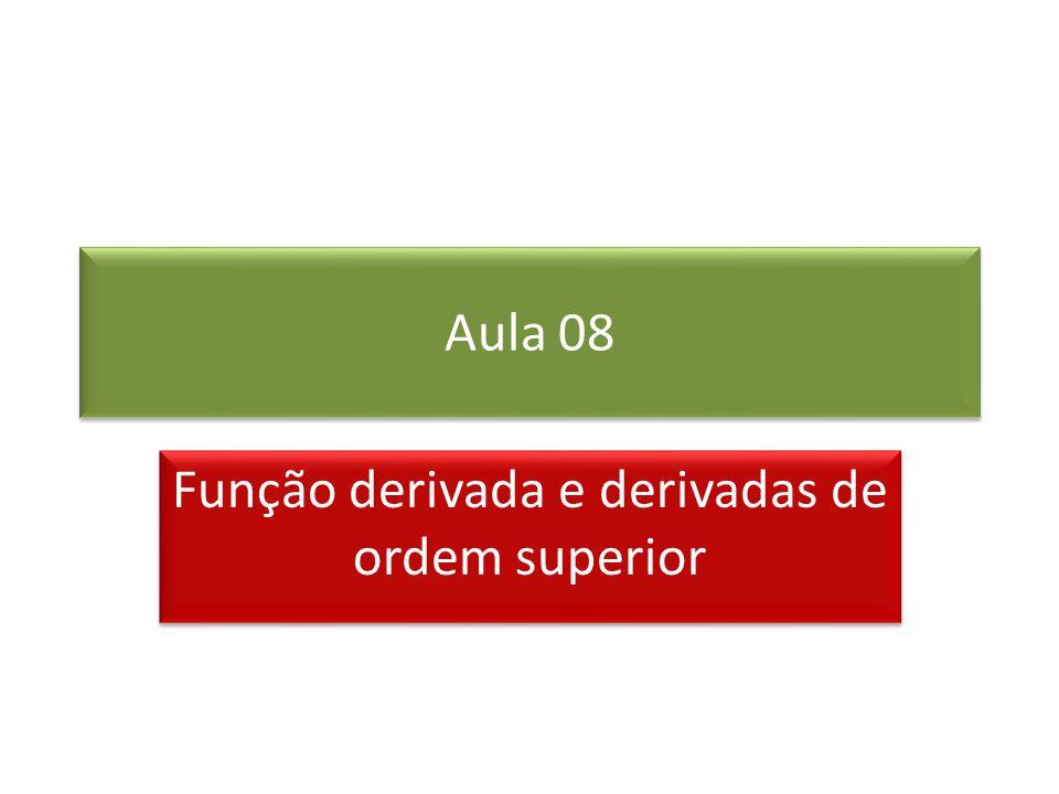 Aula 08 Função derivada e derivadas de ordem superior