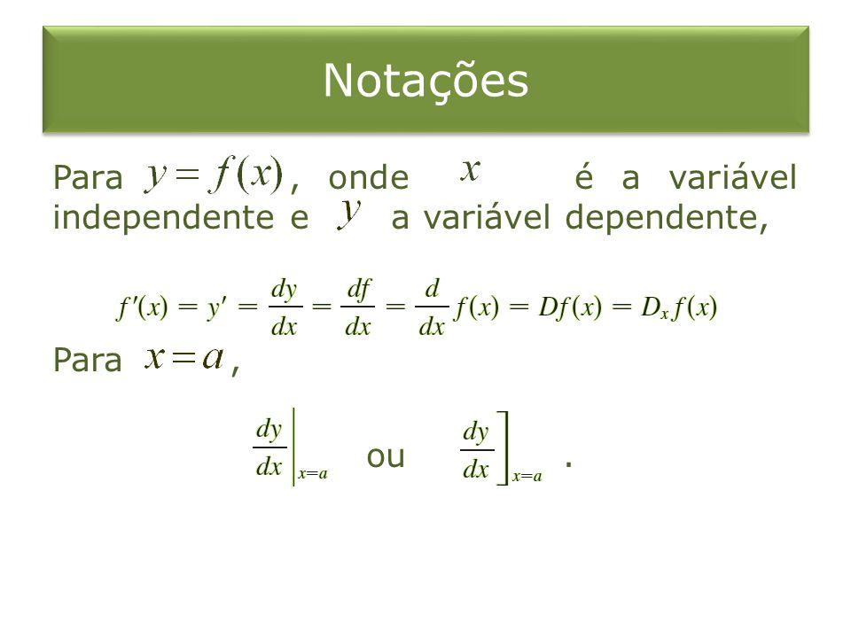 Notações Para, onde é a variável independente e a variável dependente, Para, ou.