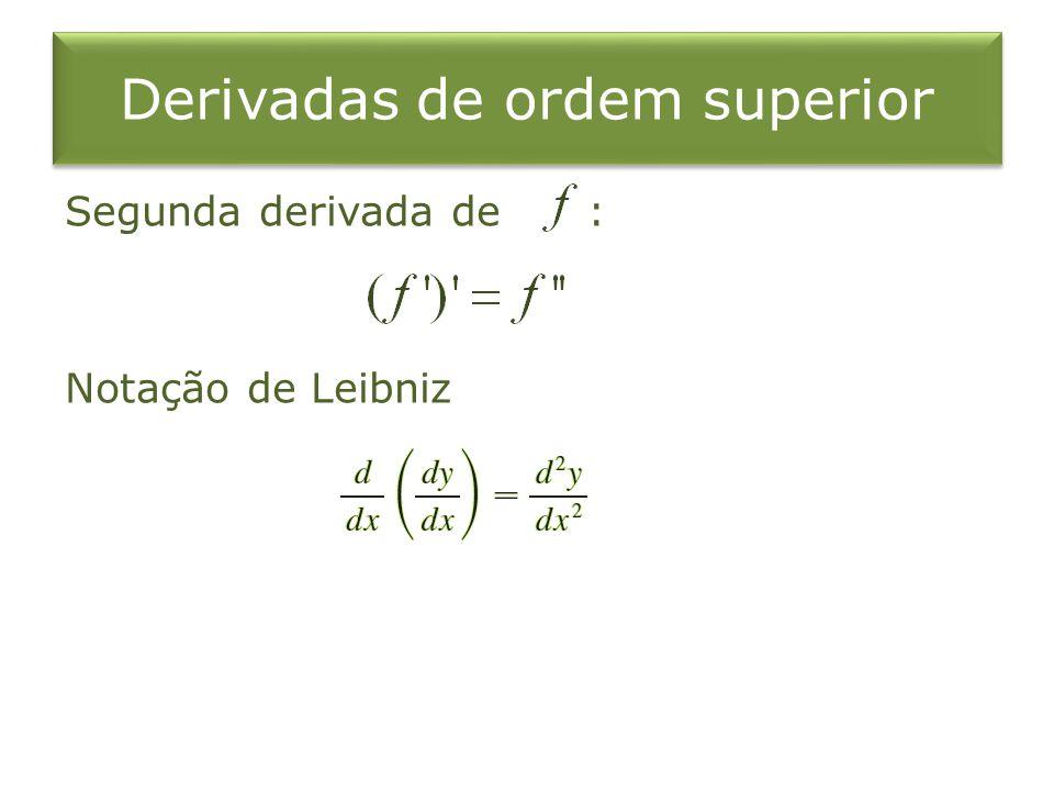 Derivadas de ordem superior Segunda derivada de : Notação de Leibniz