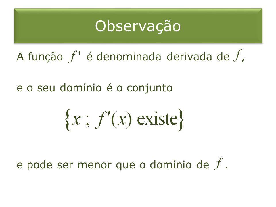 Observação A função é denominada derivada de, e o seu domínio é o conjunto e pode ser menor que o domínio de.