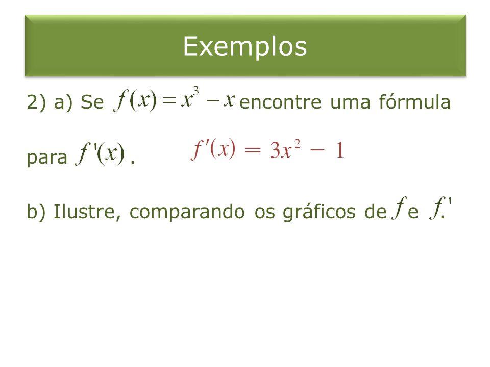 Exemplos 2) a) Se encontre uma fórmula para. b) Ilustre, comparando os gráficos de e.