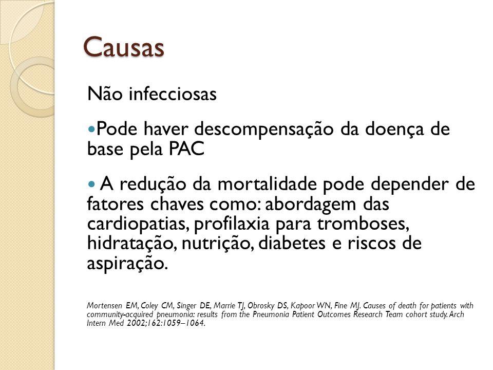 Causas Não infecciosas Pode haver descompensação da doença de base pela PAC A redução da mortalidade pode depender de fatores chaves como: abordagem d