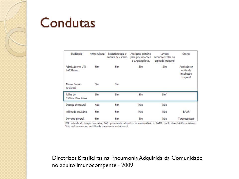Condutas Diretrizes Brasileiras na Pneumonia Adquirida da Comunidade no adulto imunocompente - 2009