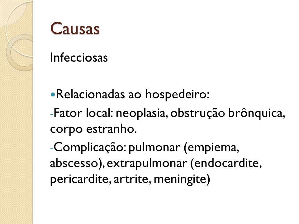 Causas Infecciosas Relacionadas ao hospedeiro: - Fator local: neoplasia, obstrução brônquica, corpo estranho. - Complicação: pulmonar (empiema, absces