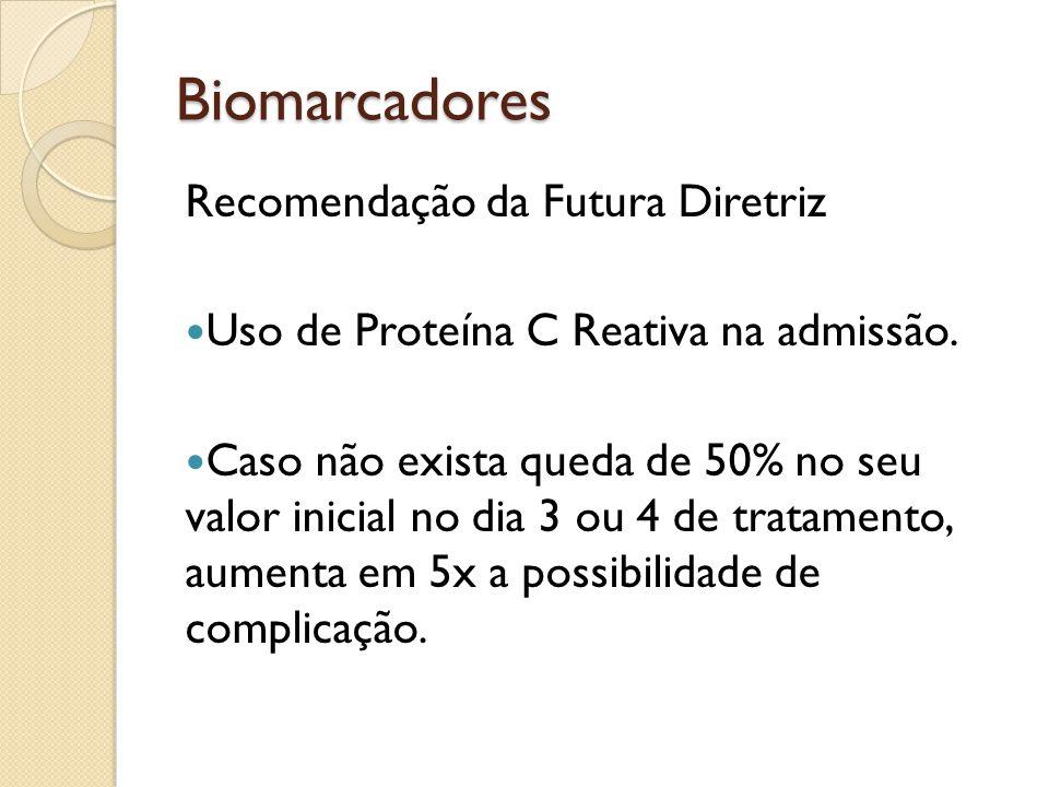 Biomarcadores Recomendação da Futura Diretriz Uso de Proteína C Reativa na admissão. Caso não exista queda de 50% no seu valor inicial no dia 3 ou 4 d