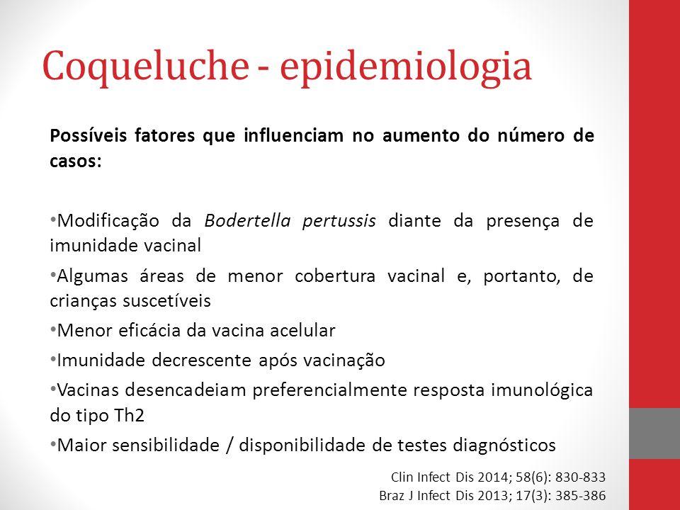 Coqueluche - epidemiologia Possíveis fatores que influenciam no aumento do número de casos: Modificação da Bodertella pertussis diante da presença de imunidade vacinal Algumas áreas de menor cobertura vacinal e, portanto, de crianças suscetíveis Menor eficácia da vacina acelular Imunidade decrescente após vacinação Vacinas desencadeiam preferencialmente resposta imunológica do tipo Th2 Maior sensibilidade / disponibilidade de testes diagnósticos Clin Infect Dis 2014; 58(6): 830-833 Braz J Infect Dis 2013; 17(3): 385-386