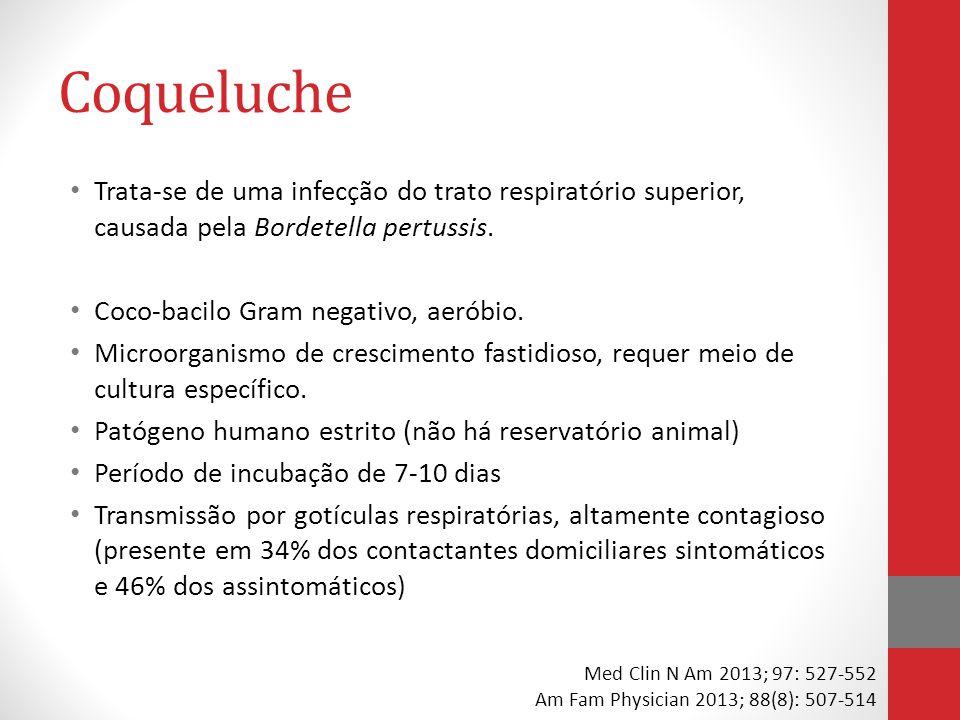 Coqueluche Trata-se de uma infecção do trato respiratório superior, causada pela Bordetella pertussis.