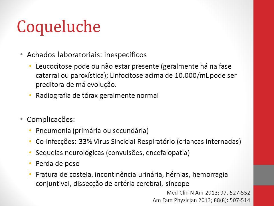 Coqueluche Achados laboratoriais: inespecíficos Leucocitose pode ou não estar presente (geralmente há na fase catarral ou paroxística); Linfocitose acima de 10.000/mL pode ser preditora de má evolução.