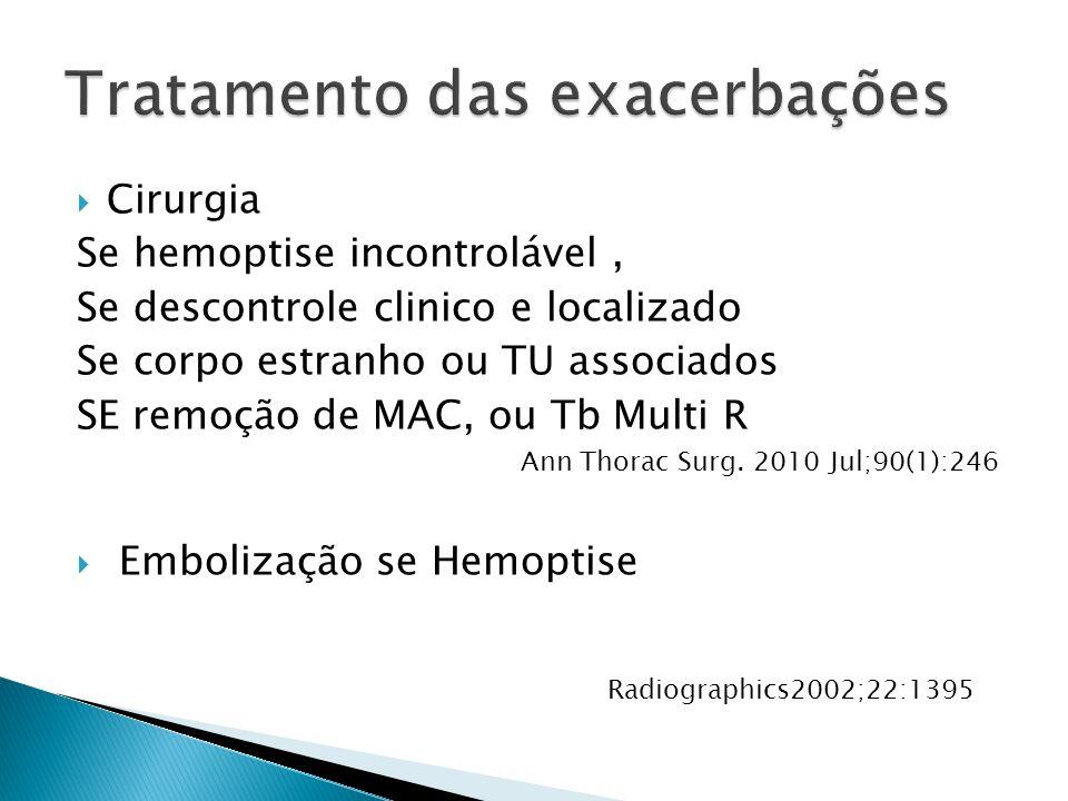 Cirurgia Se hemoptise incontrolável, Se descontrole clinico e localizado Se corpo estranho ou TU associados SE remoção de MAC, ou Tb Multi R Ann Thora