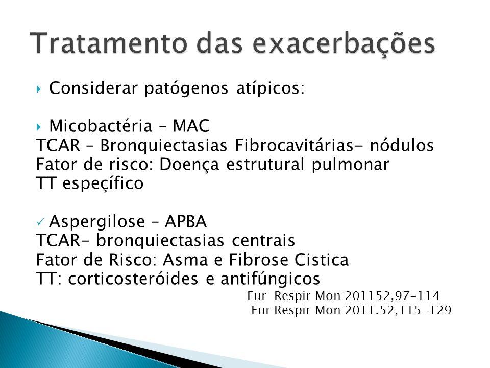 Considerar patógenos atípicos: Micobactéria – MAC TCAR – Bronquiectasias Fibrocavitárias- nódulos Fator de risco: Doença estrutural pulmonar TT espeçí