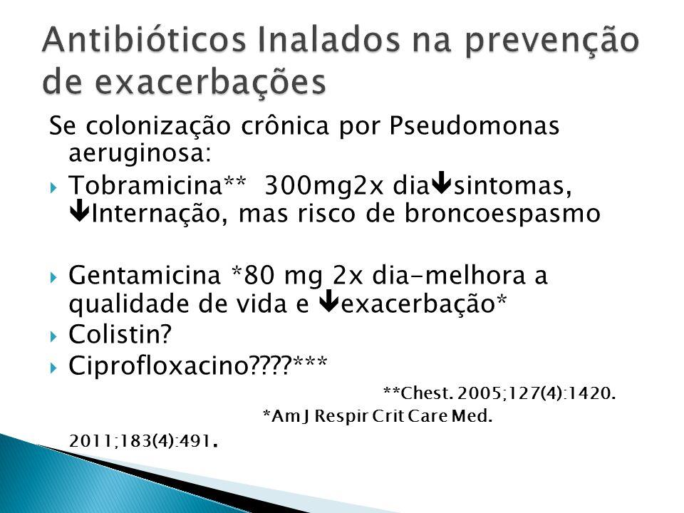 Se colonização crônica por Pseudomonas aeruginosa: Tobramicina** 300mg2x dia sintomas, Internação, mas risco de broncoespasmo Gentamicina *80 mg 2x di
