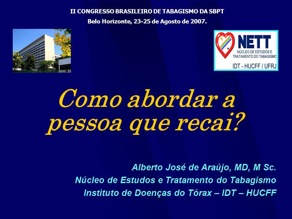 Como abordar a pessoa que recai? Alberto José de Araújo, MD, M Sc. Núcleo de Estudos e Tratamento do Tabagismo Instituto de Doenças do Tórax – IDT – H