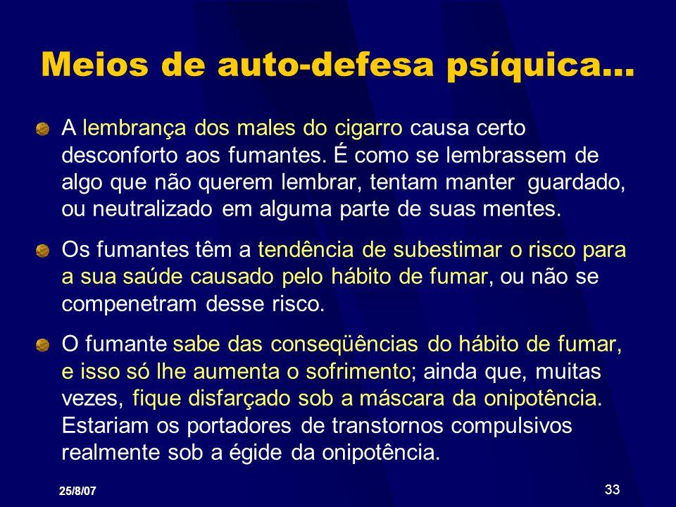 25/8/07 33 Meios de auto-defesa psíquica... A lembrança dos males do cigarro causa certo desconforto aos fumantes. É como se lembrassem de algo que nã