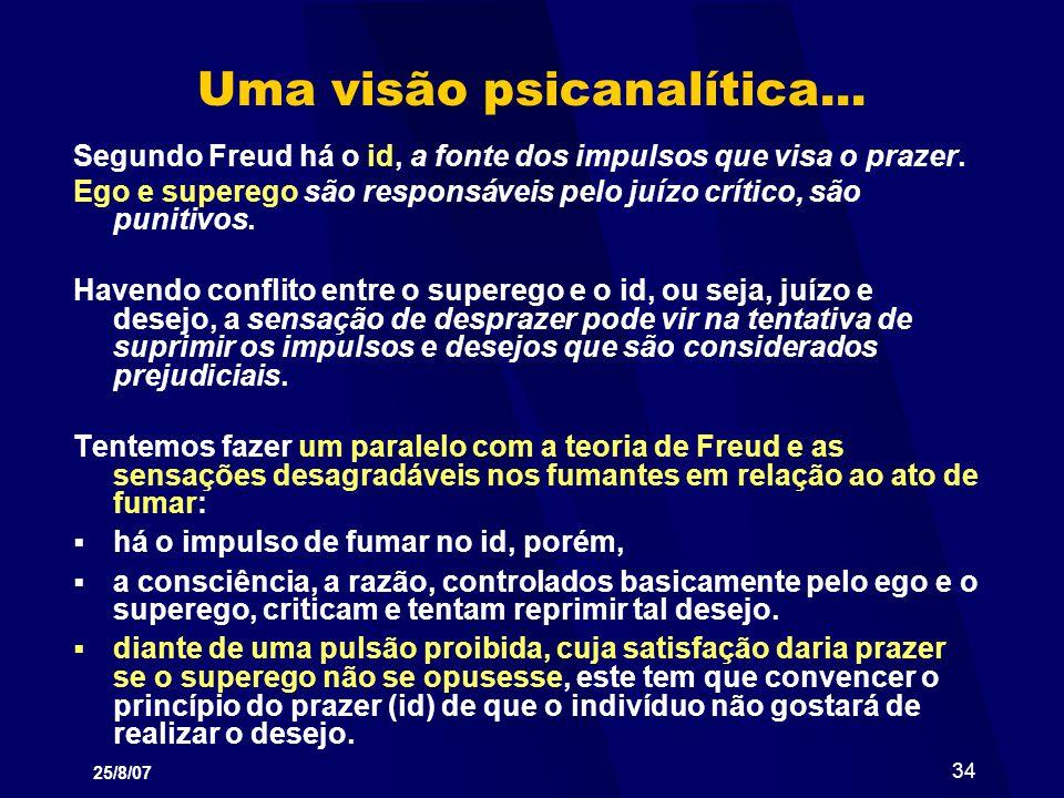 25/8/07 34 Uma visão psicanalítica... Segundo Freud há o id, a fonte dos impulsos que visa o prazer. Ego e superego são responsáveis pelo juízo crític