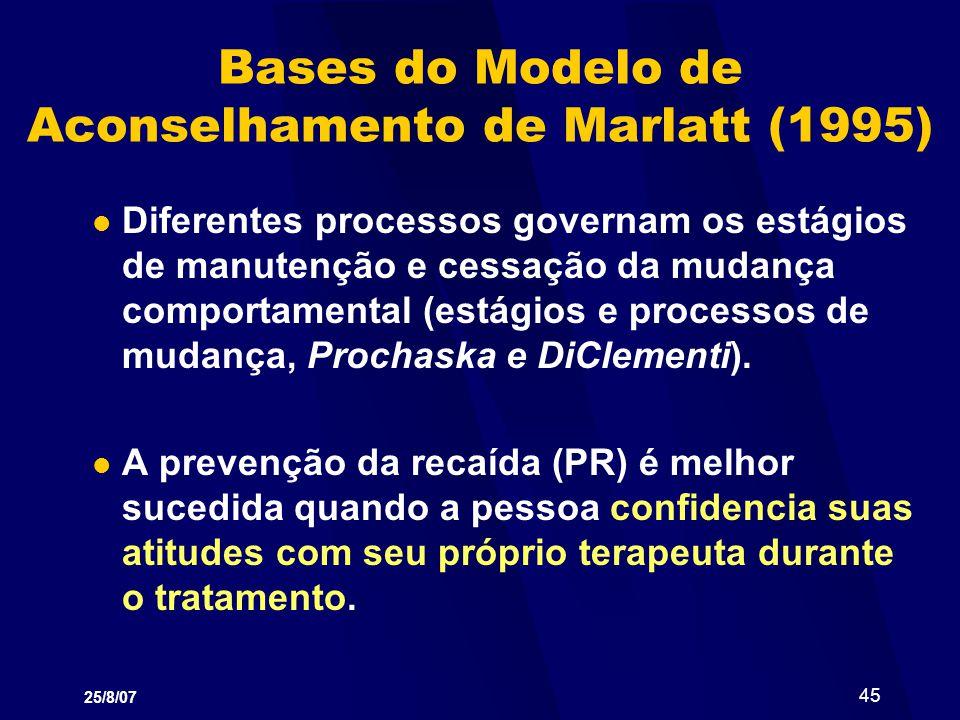 25/8/07 45 Bases do Modelo de Aconselhamento de Marlatt (1995) Diferentes processos governam os estágios de manutenção e cessação da mudança comportam