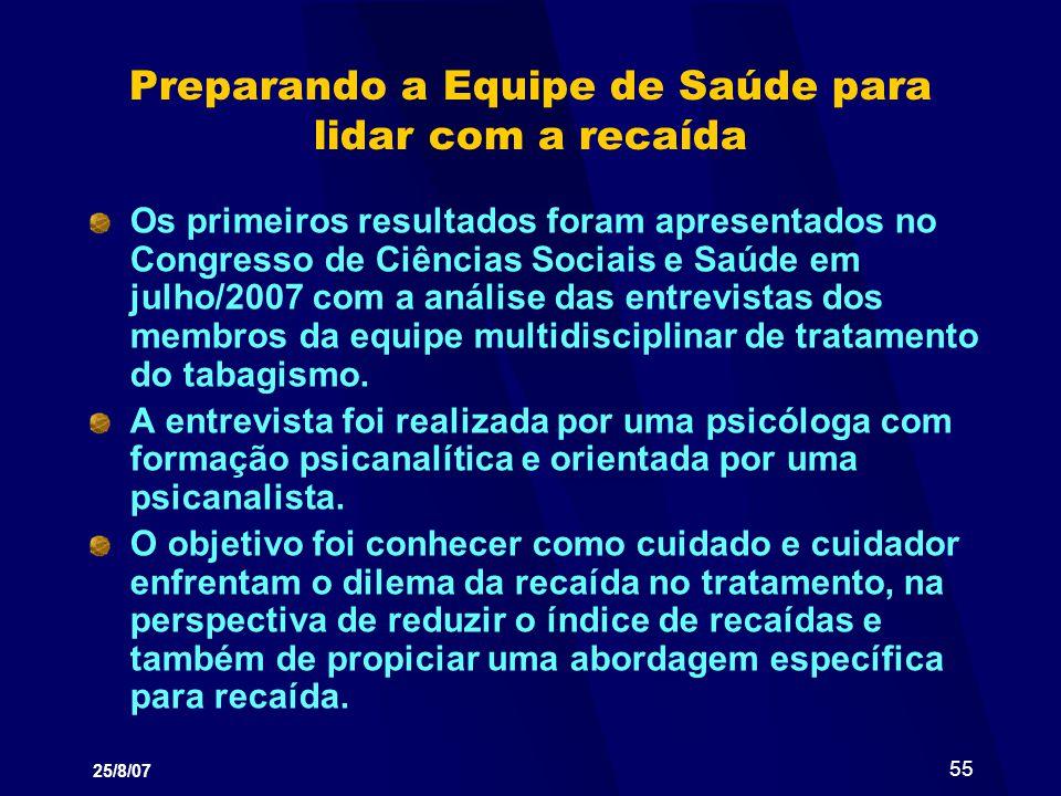 25/8/07 55 Preparando a Equipe de Saúde para lidar com a recaída Os primeiros resultados foram apresentados no Congresso de Ciências Sociais e Saúde e
