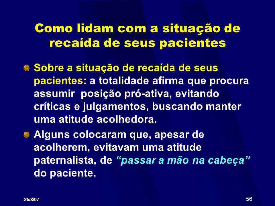 25/8/07 56 Como lidam com a situação de recaída de seus pacientes Sobre a situação de recaída de seus pacientes: a totalidade afirma que procura assum