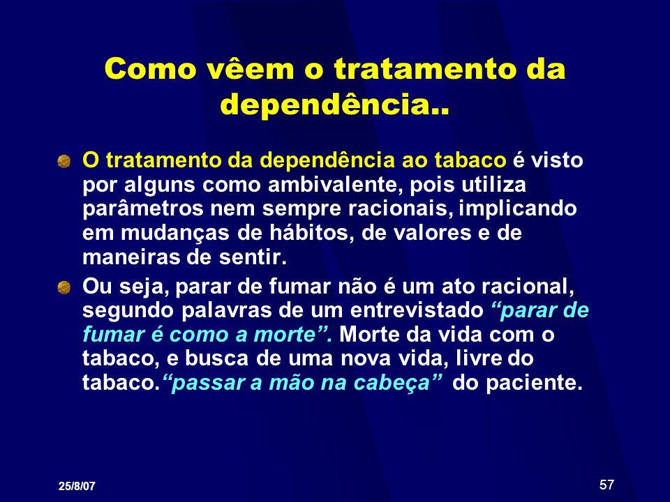 25/8/07 57 Como vêem o tratamento da dependência.. O tratamento da dependência ao tabaco é visto por alguns como ambivalente, pois utiliza parâmetros