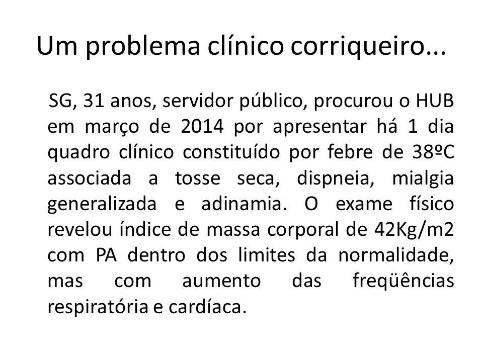 Um problema clínico corriqueiro... SG, 31 anos, servidor público, procurou o HUB em março de 2014 por apresentar há 1 dia quadro clínico constituído p