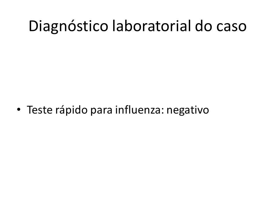 Diagnóstico laboratorial do caso Teste rápido para influenza: negativo