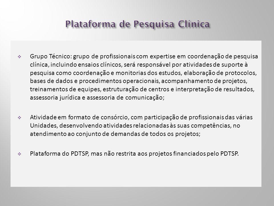 Grupo Técnico: grupo de profissionais com expertise em coordenação de pesquisa clínica, incluindo ensaios clínicos, será responsável por atividades de