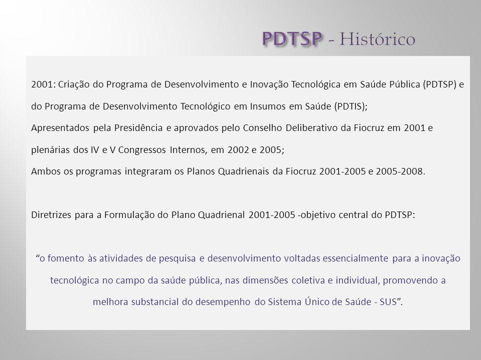 2001: Criação do Programa de Desenvolvimento e Inovação Tecnológica em Saúde Pública (PDTSP) e do Programa de Desenvolvimento Tecnológico em Insumos em Saúde (PDTIS); Apresentados pela Presidência e aprovados pelo Conselho Deliberativo da Fiocruz em 2001 e plenárias dos IV e V Congressos Internos, em 2002 e 2005; Ambos os programas integraram os Planos Quadrienais da Fiocruz 2001-2005 e 2005-2008.