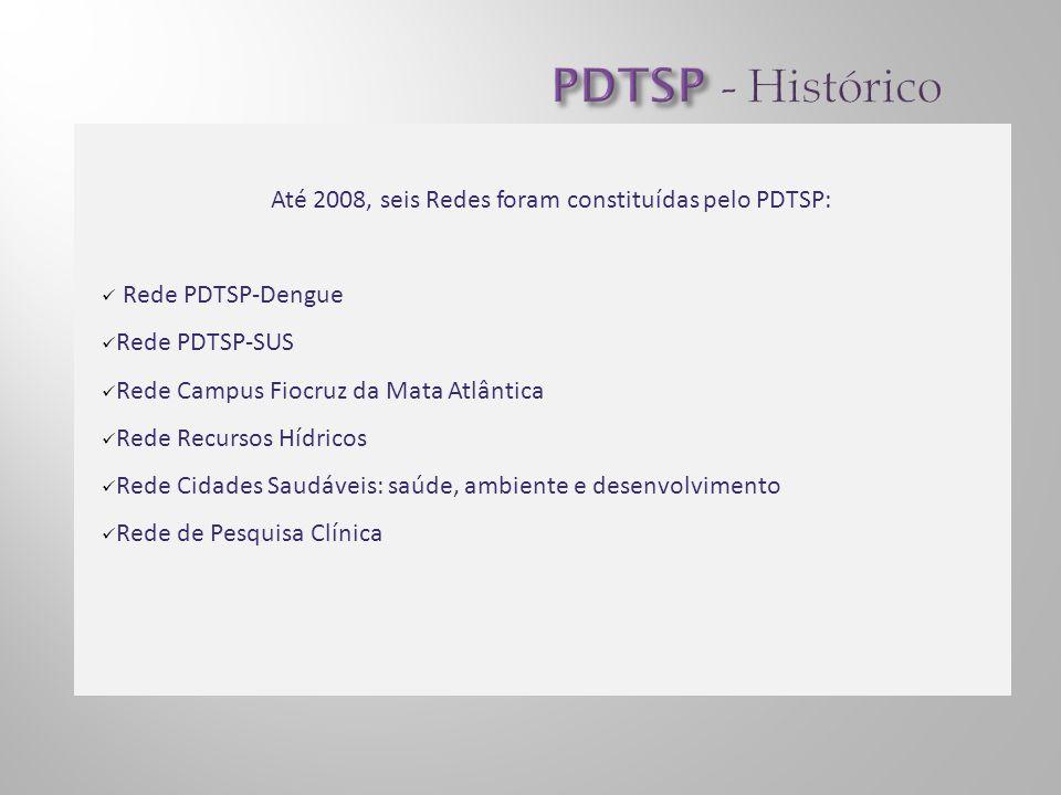 Até 2008, seis Redes foram constituídas pelo PDTSP: Rede PDTSP-Dengue Rede PDTSP-SUS Rede Campus Fiocruz da Mata Atlântica Rede Recursos Hídricos Rede Cidades Saudáveis: saúde, ambiente e desenvolvimento Rede de Pesquisa Clínica