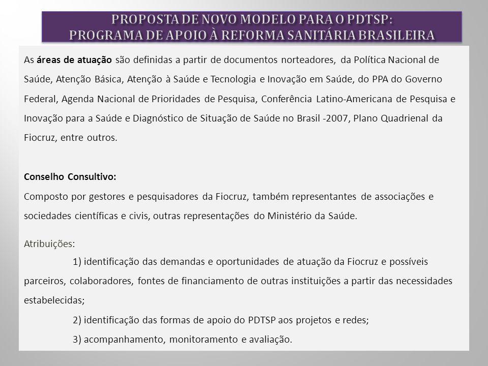As áreas de atuação são definidas a partir de documentos norteadores, da Política Nacional de Saúde, Atenção Básica, Atenção à Saúde e Tecnologia e Inovação em Saúde, do PPA do Governo Federal, Agenda Nacional de Prioridades de Pesquisa, Conferência Latino-Americana de Pesquisa e Inovação para a Saúde e Diagnóstico de Situação de Saúde no Brasil -2007, Plano Quadrienal da Fiocruz, entre outros.