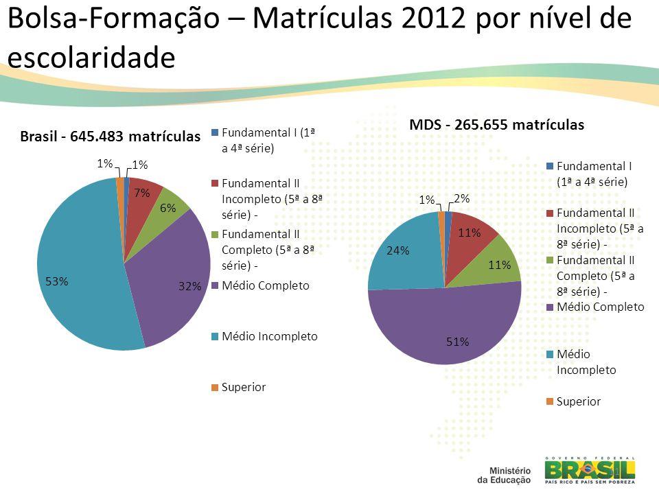 Bolsa-Formação – Matrículas 2012 por nível de escolaridade 11