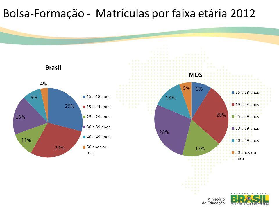 Bolsa-Formação - Matrículas por faixa etária 2012 12