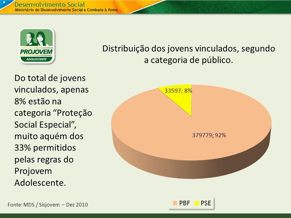 Distribuição dos jovens vinculados, segundo a categoria de público. Fonte: MDS / Sisjovem – Dez 2010 Do total de jovens vinculados, apenas 8% estão na