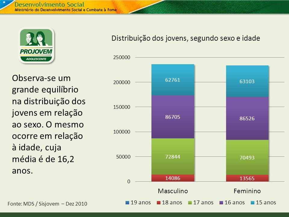 Distribuição dos jovens, segundo sexo e idade Fonte: MDS / Sisjovem – Dez 2010 Observa-se um grande equilíbrio na distribuição dos jovens em relação a