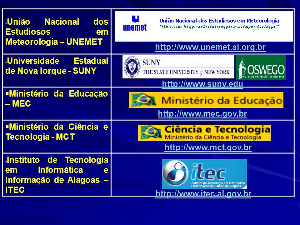 União Nacional dos Estudiosos em Meteorologia – UNEMET Universidade Estadual de Nova Iorque - SUNY Ministério da Educação – MEC Ministério da Ciência e Tecnologia - MCT Instituto de Tecnologia em Informática e Informação de Alagoas – ITEC http://www.unemet.al.org.br http://www.suny.edu http://www.mec.gov.br http://www.mct.gov.br http://www.itec.al.gov.br