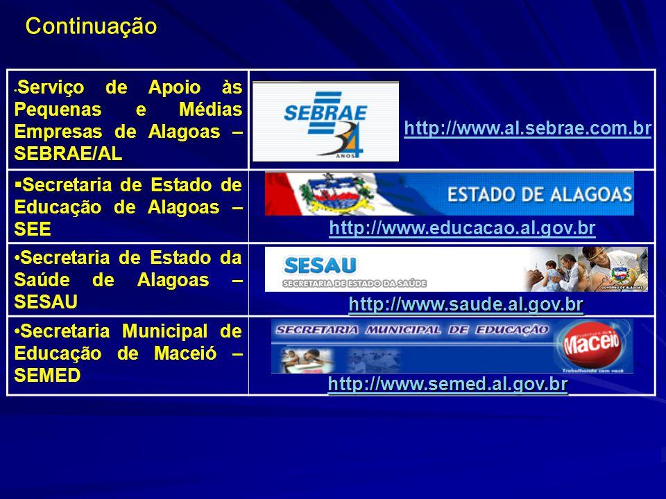 Serviço de Apoio às Pequenas e Médias Empresas de Alagoas – SEBRAE/AL Secretaria de Estado de Educação de Alagoas – SEE Secretaria de Estado da Saúde de Alagoas – SESAU Secretaria Municipal de Educação de Maceió – SEMED Continuação http://www.educacao.al.gov.br http://www.saude.al.gov.br http://www.semed.al.gov.br http://www.al.sebrae.com.br