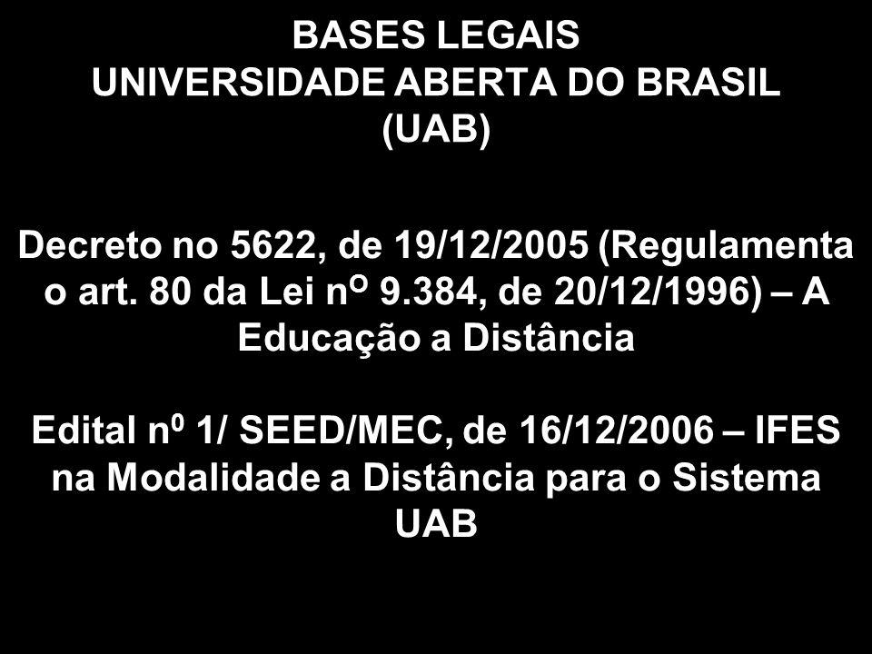 BASES LEGAIS UNIVERSIDADE ABERTA DO BRASIL (UAB) Decreto no 5622, de 19/12/2005 (Regulamenta o art.