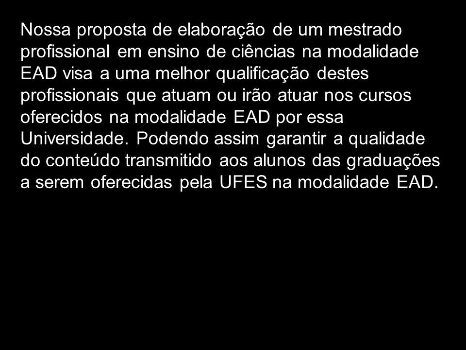 Nossa proposta de elaboração de um mestrado profissional em ensino de ciências na modalidade EAD visa a uma melhor qualificação destes profissionais que atuam ou irão atuar nos cursos oferecidos na modalidade EAD por essa Universidade.