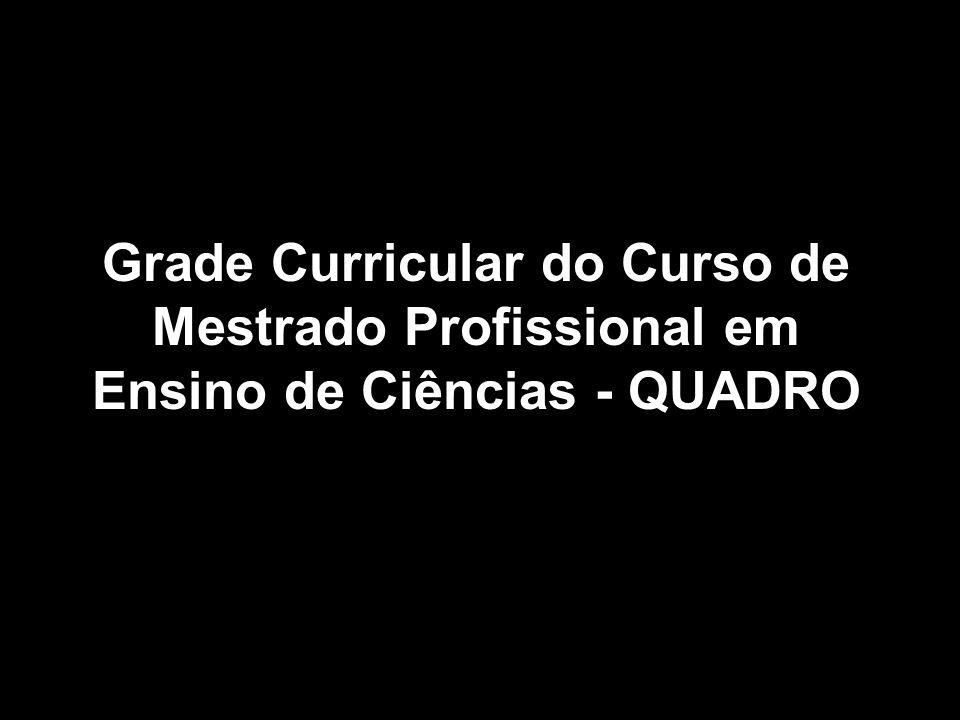 Grade Curricular do Curso de Mestrado Profissional em Ensino de Ciências - QUADRO