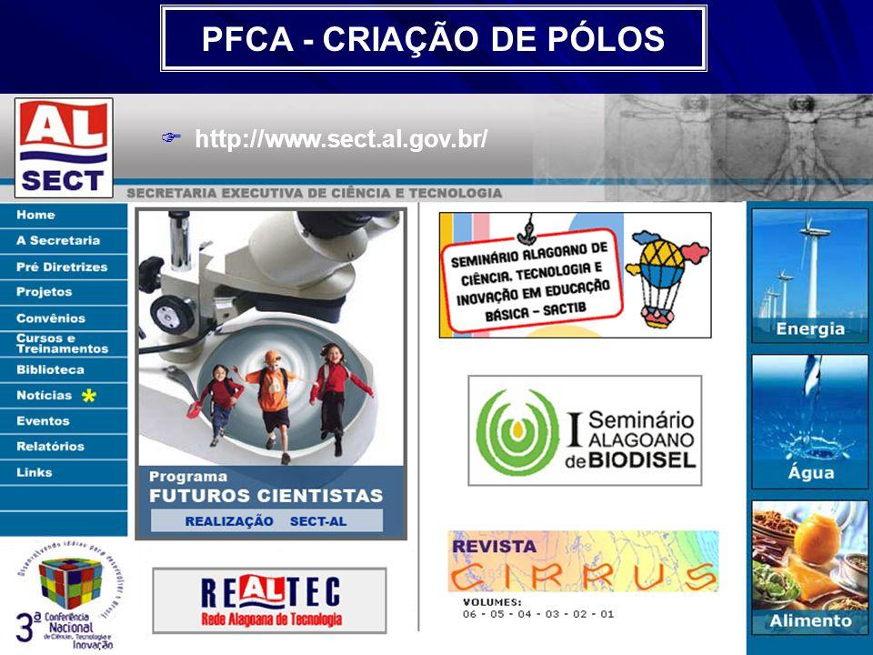 PFCA - CRIAÇÃO DE PÓLOS http://www.sect.al.gov.br/