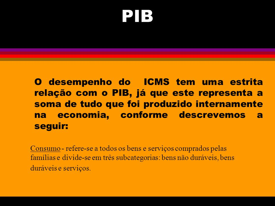 PIB O desempenho do ICMS tem uma estrita relação com o PIB, já que este representa a soma de tudo que foi produzido internamente na economia, conforme