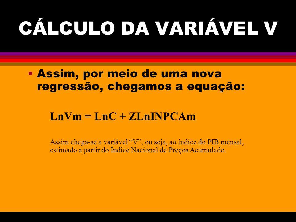 CÁLCULO DA VARIÁVEL V Assim, por meio de uma nova regressão, chegamos a equação: LnVm = LnC + ZLnINPCAm Assim chega-se a variável V, ou seja, ao índic