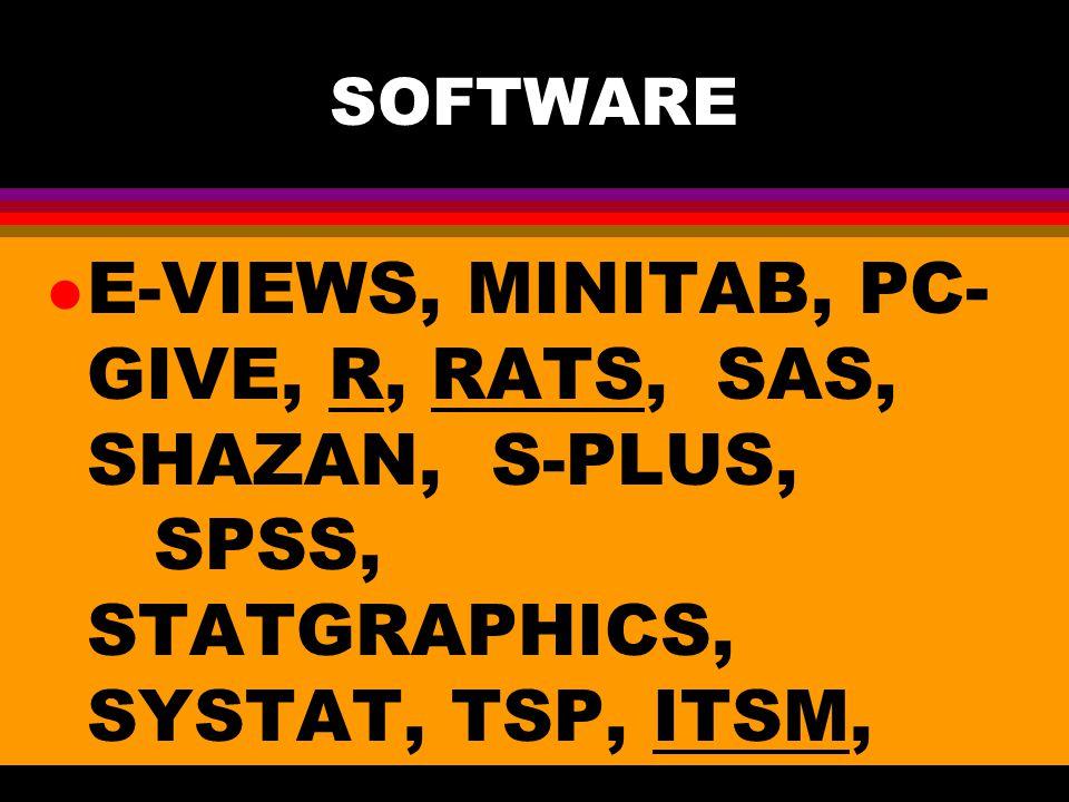 SOFTWARE l E-VIEWS, MINITAB, PC- GIVE, R, RATS, SAS, SHAZAN, S-PLUS, SPSS, STATGRAPHICS, SYSTAT, TSP, ITSM, EASYREG.