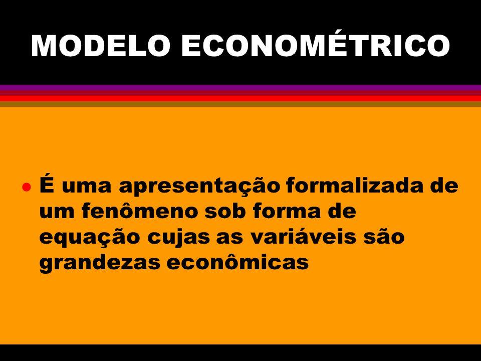 MODELO ECONOMÉTRICO l É uma apresentação formalizada de um fenômeno sob forma de equação cujas as variáveis são grandezas econômicas