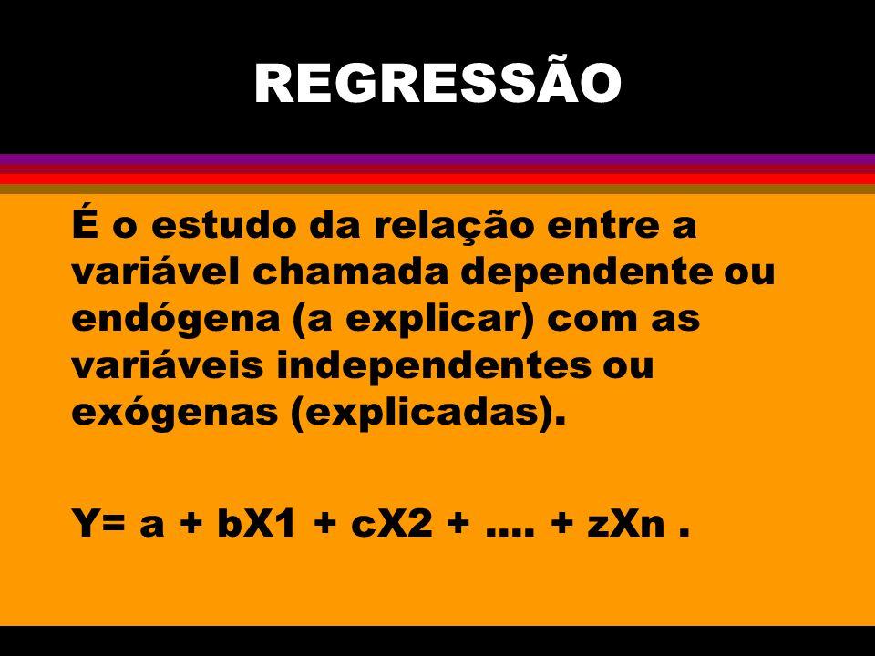 REGRESSÃO É o estudo da relação entre a variável chamada dependente ou endógena (a explicar) com as variáveis independentes ou exógenas (explicadas).