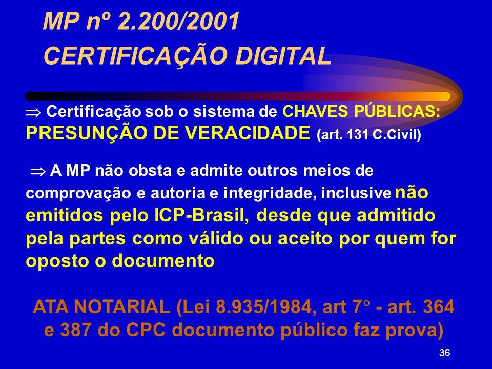 35 : MP nº 2.200/2001 CERTIFICAÇÃO DIGITAL Art.10.